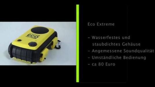 Für alle Outdoor-Fans, die unterwegs nicht auf Musik verzichten möchten, bietet Grace Digital Audio den Eco Extreme an. Im Inneren der Lautsprecher lässt sich der MP3-Player sicher verstauen. Allerdings ist die Bedienung umständlich und der Eco Extreme relativ schwer.