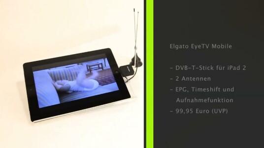 Mit dem DVB-T-Stick EyeTV Mobile von Elgato verwandelt sich das iPad 2 in einen kleinen, mobilen Fernseher.