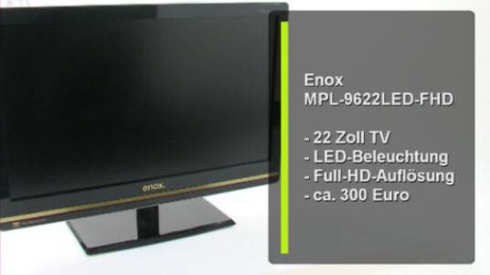 Der 22 Zoll große Bildschirm ist in erster Linie ein Full-HD LED-TV. Dank Zwölf-Volt-Betreib eignet er sich auch für den Campingplatz. Alternativ ersetzt der Bildschirm den PC-Monitor.