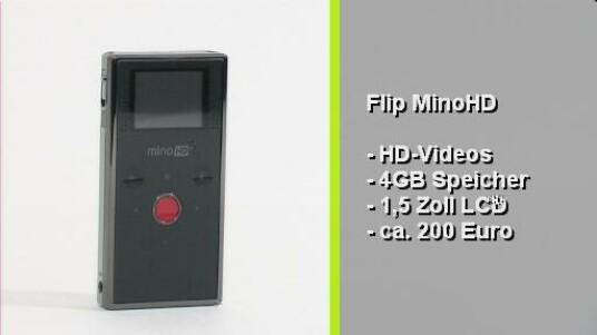 Der handliche Flip MinoHD gefällt durch seine unkomplizierter Bedienung. Die Videokamera im Hosentaschenformat überzeugt auch mit der guten Qualität ihrer Filme. Mit einem Straßenpreis von etwa 200 Euro kostet der MinoHD allerdings fast doppelt so viel wie vergleichbare, aber nicht ganz so gute Pocket-Camcorder.