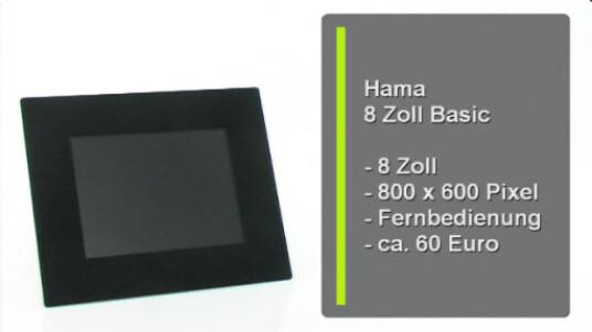 Neben einer Menge Zubehör bietet Hama auch digitale Bilderrahmen an. Das acht Zoll große Modell verkauft das Unternehmen in einer Basis- und einer Multimedia-Version.
