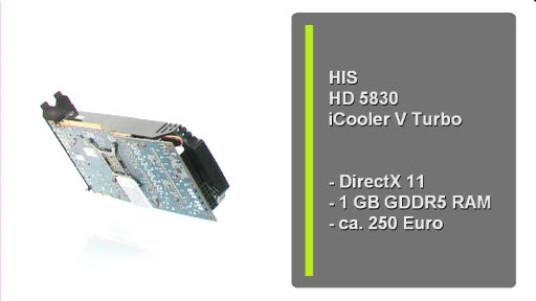 Für 250 Euro bekommt der Käufer eine leistungsfähige Grafikkarte. Die HIS HD 5830 iCooler V Turbo unterstützt DirectX 11 und verfügt über einen Gigabyte GDDR fünf Arbeitsspeicher.