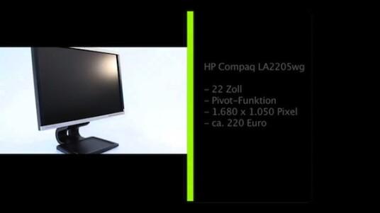 22 Zoll großer bildschirm mit 1.680 x 1.050 Pixeln. Der HP Compaq LA2205wg lässt sich angenehm bedienen und bietet eine gute Bildqualität. Als Zugabe lässt sich der Monitor um 90 Grad ins Hochformat drehen.