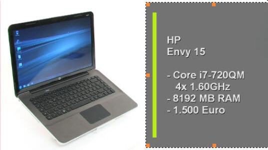 Das HP Envy 15 ist ein Design-Notebook mit üppiger Rechnenleistung und einem stolzen Preis. Ausgestattet mit einem Quadcore-Prozessor und acht Gigabyte Arbeitspeicher kostet der edle Laptop 1500 Euro.