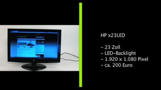 Schwarz, flach, stromsparend, verspiegelt: HP bietet mit dem x23LED einen brauchbaren Computerbildschirm mit LED-Hintergrundbeleuchtung an. Der Monitor überzeugt in vielen Punkten, aber je nach Einsatzzweck und -ort erweist sich die spiegelnde Anzeige als KO-Kriterium.