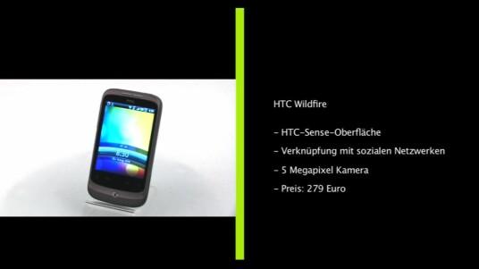 Mit dem Wildfire will Smartphone-Hersteller HTC auch den Massenmarkt erobern. Für einen vergleichsweise geringeren Preis bietet das Wildfire eine üppige Ausstattung, inklusive einer fünf Megapixel-Kamera mit Blitz, einen bis zu 32 Gigabyte erweiterbaren Flashspeicher, GPS-Modul sowie W-LAN, UMTS und HSDPA-Unterstützung.