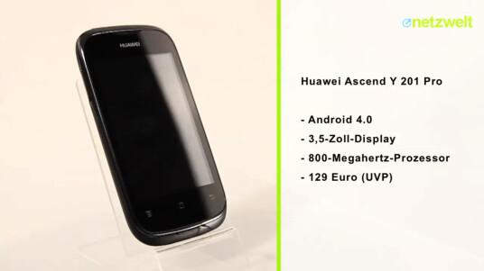 Mit dem Ascend Y 201 Pro präsentiert Huawei erneut ein günstiges Einsteiger-Smartphone. Das Modell läuft sogar bereits mit Android 4.0.