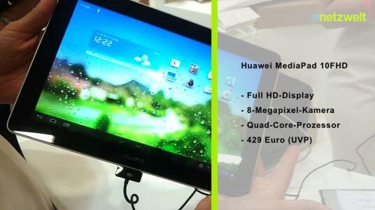 Huawei präsentierte auf der IFA die Verkaufsversion seines Ende Februar vorgestellten Full HD-Tablets MediaPad 10FHD. Netzwelt probierte das Vierkern-Tablet in Berlin aus.