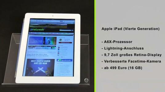 Nach nur acht Monaten schickt Apple das iPad mit Retina-Display der dritten Generation in Rente. Die äußerlichen Unterschiede zwischen iPad 3 und iPad 4 muss man fast schon mit der Lupe suchen. Dafür sorgt der nun verbaute A6X-Prozessor für ein ordentliches Leistungs-Plus.