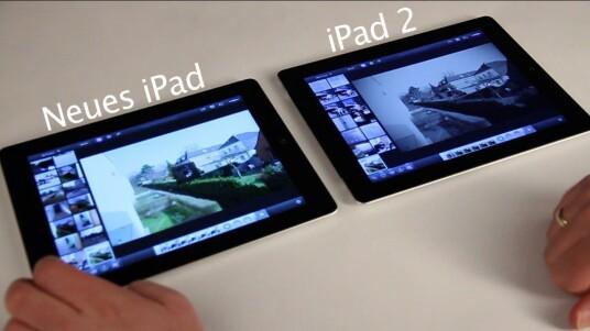 Zusammen mit dem neuen iPad hat Apple eine iPhoto-App für seine Tablets vorgestellt. Wie schnell sie im Vergleich auf dem neuen und dem iPad 2 arbeitet zeigt dieses Video.