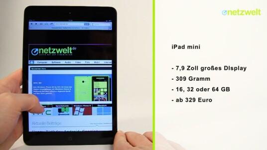Apple hat es tatsächlich getan, das iPad mini ist da. Im Test von netzwelt stößt vor allem die Display-Auflösung übel auf. Auf der anderen Seite entpuppt sich das 7,9-Zoll-Format als die ideale Größe für Tablet-Computer.