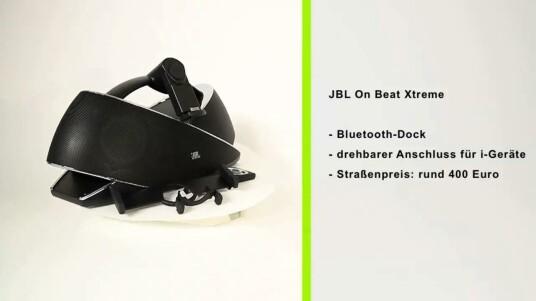 Die JBL-Dockingstation fällt optisch durch ihre originelle Bauweise und die kluge Halterung für i-Geräte aus dem Rahmen. Audiodateien empfängt das System per Dock, Bluetooth oder AUX-Eingang. Die Dockingstation OnBeat Xtreme kostet rund 400 Euro.