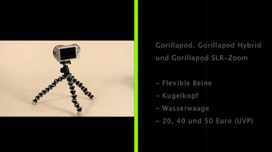 Dieses Stativ umschlingt Rohre und Stangen: Auch das neue Gorillapod Hybrid lässt sich an ungewöhnlichen Orten befestigen. Die Wasserwaage hilft bei der Ausrichtung der Kamera.