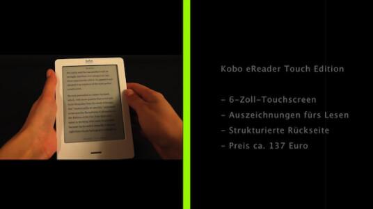 Das E-Ink-Display des Kobo eReader Touch Edition misst sechs Zoll und lässt sich per Berührung bedienen. Die Rückseite des E-Book-Readers ist für besseren Halt strukturiert. Dank einer Funktion namens Reading Life wird der Nutzer mit Auszeichnungen fürs Lesen belohnt.