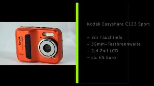 Kodaks günstige Unterwasserkamera Easyshare Sport übersteht Tauchgänge bis zu einer Tiefe von drei Metern. Für den niedrigen Preis muss der Nutzer allerdings einige Abstriche bei der Ausstattung hinnehmen.