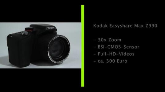 Mit einem 30-fachen Zoom versieht Kodak die Bridgekamera Easyshare Max. Ins Kleinbildformat umgerechnet reicht die Brennweite von 28 bis 840 Millimeter.