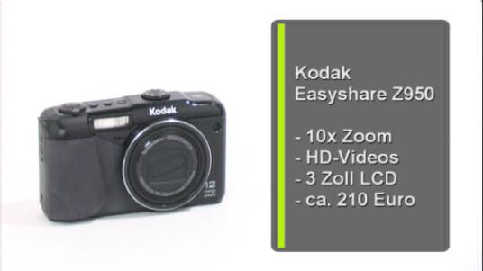 Hohe Bildqualität und guter Weißabgleich: Die umfangreich ausgestattete Kompaktkamera Kodak Easyshare Z950 nimmt Fotos und HD-Videos auf.