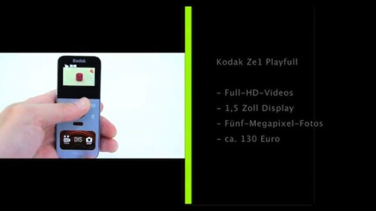 Kleiner Pocket-Camcorder nimmt Full-HD-Videos auf. Bei der Kodak Playfull muss sich der Nutzer unter anderem mit einem kleinen Bildschirm und einem unpraktischen USB-Stecker zufrieden geben.