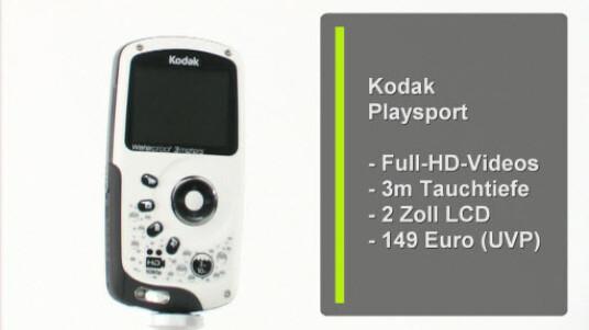 Kodaks neuester Pocket-Camcorder Playsport ist bis zu einer Tauchtiefe von drei Metern wasserdicht. Die Kamera nimmt Videos in Full-HD-Auflösung auf und verfügt über einen zwei Zoll großen Bildschirm, der als Sucher dient.