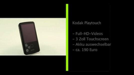 Dieser Pocket-Camcorder nimmt Full-HD-Videos auf und der Nutzer bedient ihn über einen drei Zoll großen Touchscreen. Kodak stattet den Playtouch mit einem kleinen internen Speicher aus, so dass der Anwender eine Speicherkarte einlegen muss.