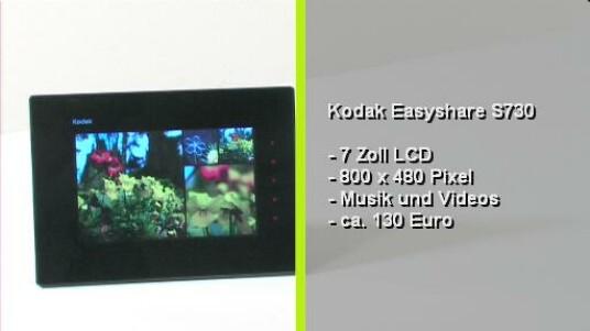 Endlich mal ein Bilderrahmen mit integrierten Akku. Dieser hält zwar nicht lang aber wenigstens kann er kabellos bedient werden. Darüber hinaus erzeugt der Easyshare S730 mit einer sehr guten Bilddarstellung.