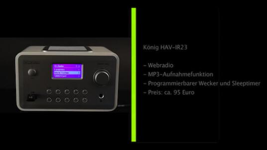 Das König HAV-IR23 bietet Zugriff auf mehr als 10.000 Internet-Radiostationen, inklusive einer Aufnahmefunktion.
