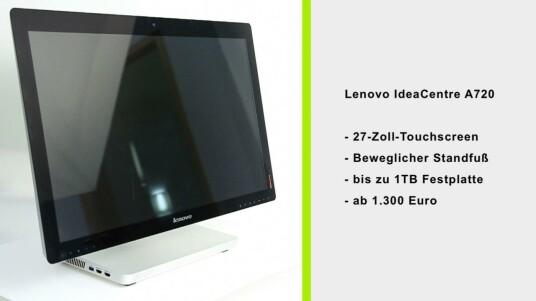Auf den ersten Blick mag das Lenovo IdeaCentre A720 noch Apples iMac ähneln. Spätestens beim zweiten Blick fallen aber die Unterschiede auf. Etwa der berührungsempfindliche Bildschirm oder der extrem flexible Standfuß. Netzwelt hat den AIO ausgiebig ausprobiert.