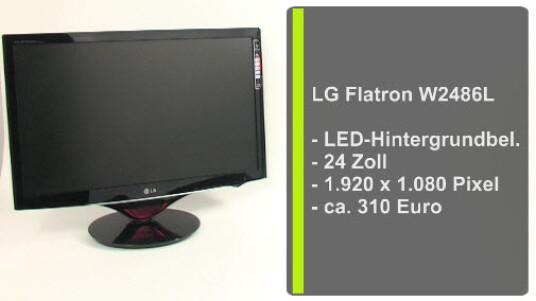 Dank einer LED-Hintergrundbeleuchtung verbraucht der 24 Zoll große PC-Monitor Flatron W2486L von LG weniger Strom als Geräte mit herkömmlichen Leuchtstoffröhren. Das schont nicht nur den Geldbeutel sonder auch die Umwelt.