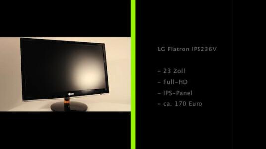 Der Flatron IPS236V von LG sammelt vor allem mit seinem hochwertigerem IPS-Panel Pluspunkte.