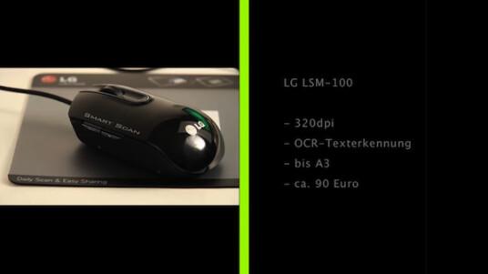 Visitenkarten, Zeichnungen oder Baupläne in A3: Mit dem Maus-Scanner LSM-100 von LG lassen sich schnell und unkompliziert Dokumente digitalisieren.