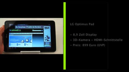 Early Adaptor und 3D-Fans aufgepasst: LG bringt mit dem Optimus Pad ein Honeycomb-Tablet mit 3D-Kamera auf den Markt.