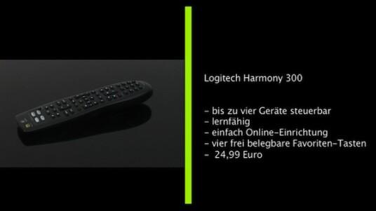 Die Harmony 300 ist das neue Einstiegsmodell der Harmony-Fernbedienungen-Serie von Logitech. Sie ermöglicht das Steuern von bis zu vier Geräten und lässt sich via Internet in wenigen Schritten konfigurieren.