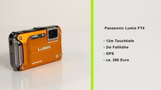 Die Panasonic Lumix FT4 ist wasserdicht, sturzfest und frostsicher. Zusätzlich verfügt sie über ein GPS-Modul, einen Kompass, einen Höhenmesser und ein Barometer.