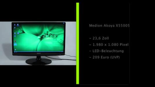 Flacher, 23,6 Zoll großer Full-HD-Monitor mit LED-Hintergrundbeleuchtung. Der Medion Akoya X55005 hinterlässt im Test einen positiven Eindruck, gibt aber auch Anlass zur Kritik.