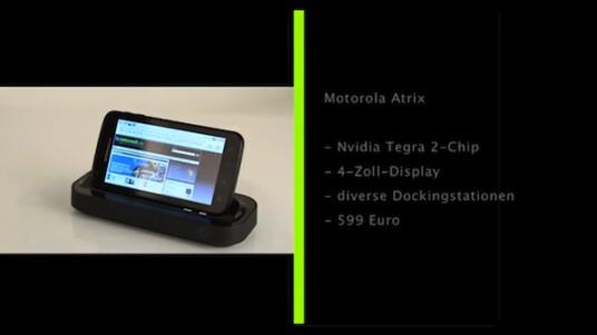 Das Smartphone Motorola Atrix verwandelt sich mit dem richtigen Zubehör in ein Netbook oder in eine Home-Entertainment-Anlage.