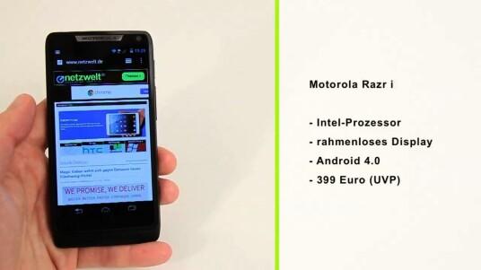 Motorola setzt beim Razr i erstmals auf eine Intel-CPU. Zudem glänzt das Android-Handy mit einem nahezu rahmenlosen Bildschirm.