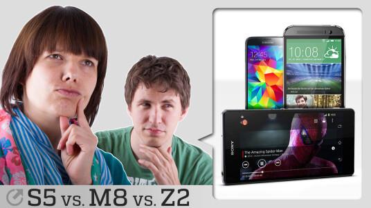 Das HTC One M8, das Sony Xperia Z2 und das Samsung Galaxy S5 treten in unserer Sprechstunde gegeneinander an. Welches Smartphone wird bei unseren Challenges am besten abschneiden?
