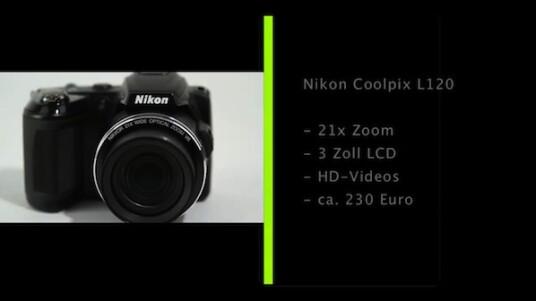Die kleine und günstige Kompaktkamera Coolpix 120 von Nikon verfügt über einen 21-fachen Zoom, zwei Zoomwippen zur Verstellung der Brennweite und einen beweglichen Bildsensor für weniger verwackelte Fotos.
