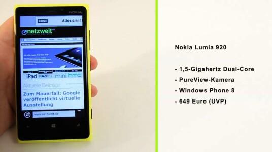 Mit dem Lumia 920 meldet sich Nokia im Kampf um den Smartphone-Thron zurück. Das Smartphone glänzt im Test mit vielen netten Ideen und neuen Techniken - etwa dem mit Handschuhen bedienbaren Display, der drahtlosen Ladetechnik und der PureView-Kamera. Mit 185 Gramm ist es allerdings kein Leichtgewicht.