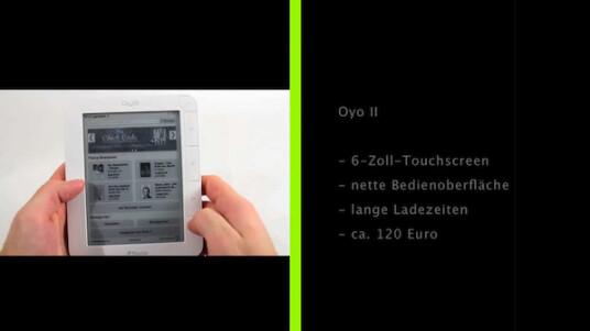 Der neue Oyo besitzt wie sein Vorgänger einen Touchscreen und vier Tasten für die Bedienung. Im netzwelt-Test zeigen sich einige Schwächen des 120 Euro teuren Lesegeräts.