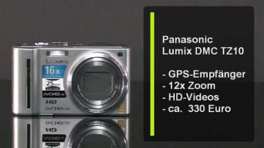 Mit ihrem GPS Empfänger weiß die TZ10 immer wo genau sie sich auf der Welt befindet. Aber auch durch die übrige Ausstattung mit zwölffachem Zoom, optischem Bildstabilisator und einer Videofunktion mit HD-Auflösung weiß die Kamera zu überzeugen.