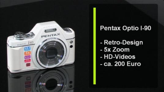 Schöne Kamera im Retro-Design. Die Pentax Optio I90 ist mit sicherheit ein Blickfang. Weniger überzeugend ist die Bildqualität der Kamera, die ebenfalls Retro ist.