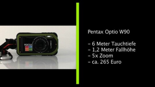 Sechs Meter tief tauchen, aus über einem Meter herunterfallen und auch im Winter noch funktionieren. Die Outdoor-Kamera Optio W90 von Pentax hält einiges aus. Doch steckt in der harten Schale brauchbare Technik oder nur ein weicher Kern?