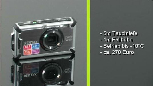 Die Pentax Optio W80 ist eine richtige Outdoor-Kamera die gute Bilder liefert. Der Fotograf kann mit ihr bis zu fünf Meter tief tauchen. Auch Stöße und Stürze überlebt die Digitalkamera, die somit zum perfekten Begleiter im Abenteuer-Urlaub wird.