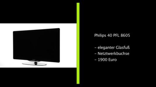 Dieser 40 Zoll große Fernseher von Philips punktet im netzwelt-Test mit seinem Ambilight und einer umfangreichen Ausstattung. Nur die spiegelnde Frontscheibe und die kühlen Farben trüben das Gesamt-Bild.