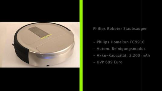 Der Staubsauger-Roboter HomeRun von Philips verfügt über einen automatischen Reinigungs- und Basisstationsuchmodus und kann daher in Abwesenheit des Nutzers problemlos das Staubsaugen übernehmen. Durch das Fotografieren der Raumdecke gelingt dem Roboter die systematische Reinigung des Raumes. Sensoren hindern ihn zudem daran Treppen hinunter zu stürzen.