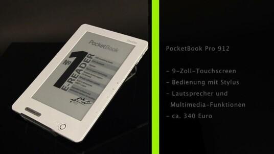 PocketBook Pro 912: Mit seinem neun Zoll großen Bildschirm fällt das PocketBook Pro 912 etwas aus der Reihe. Ansonsten zeichnet sich der E-Book-Reader durch eine Bedienung mit dem Stylus sowie integrierte Lautsprecher aus.