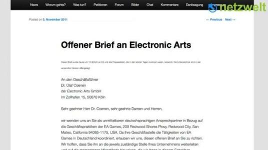 Basti, der 32-jährige Systemadministrator aus Kassel, hat sich bisher noch nie politisch engagiert, aber im Konflikt um das Online-Portal Origin des Publisher Electronic Arts ist er mit seinem Blog The Origin.de zum Meinungsführer geworden.