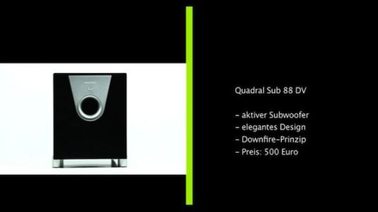 Der Quadral Sub 88 DV ist ein echtes Arbeitstier, dem erst in Räumen über 40 Quadratmeter die Puste ausgeht. Mit seinem eleganten Design verschönert der 500 teure Aktiv-Subwoofer jedes Wohnzimmer.
