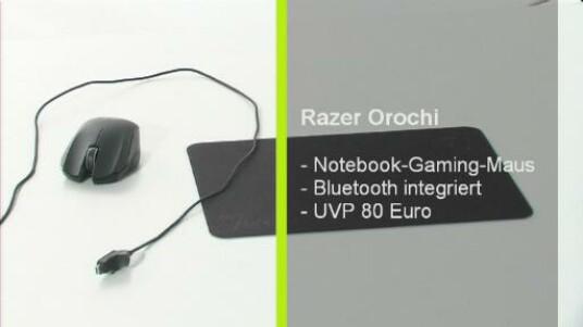 Die Razer Orochi ist eine ergonomisch geformte Gamer-Maus die auf Wunsch ohne Kabel bedient wird. Für eine genaue Steuerung wird eine Unterlage für die Maus gleich mitgeliefert.